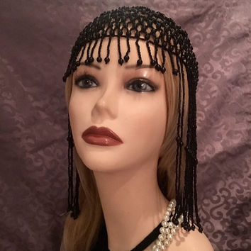 1920s style FULLY Beaded BLACK Fringe FLAPPER Head cap skull headpiece Gatsby Roaring Twenties Art Deco Bead Hat Tassels Headwear Headdress