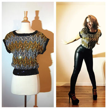 Sequin Blouse Gold Silver Black Party Sparkly Club Evening Top size Medium