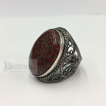 Sterling Silver and Dinosaur Bone Fossil Ring