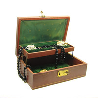 Brown Jewelry Box with Emerald Green Interior Hard Case Leatherette Ring Storage