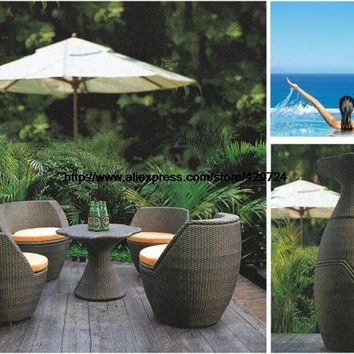 Creative Rattan Furniture Set Vase Combination Outdoor Sofa Garden Sofa Chair Table Patio Wicker Furniture Combination HFA111