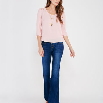 Gauzy Long Sleeve Blouse With Lace Inset | Wet Seal
