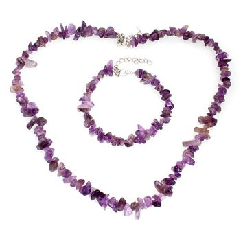 YYW Hot Sale Natural Real Agata Amethysts Quartz Sea Opal Moon Stone Jewelry Single Chips Stone Beaded Bracelets Necklace Set