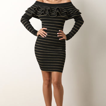 Metallic Striped Flutter Bardot Sweater Knit Bodycon Dress | UrbanOG