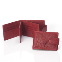 Leather Ladies Silver Red Card Holder [9026234179]