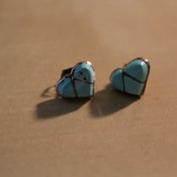 Turquoise and Silver Heart Stud Earrings