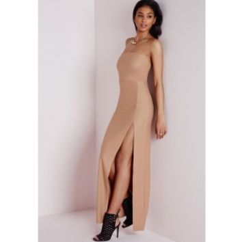 Crepe Front Split Bandeau Maxi Dress Camel - Dresses - Maxi Dresses - Missguided