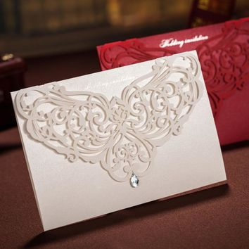 30pcs Vertical Elegant Engagement Laser Cut Flower Wedding Invitation Card With Rhinestone Wedding Favors Custom CW3129