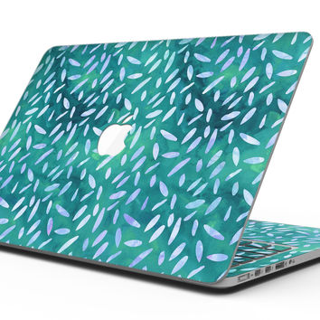 Green and Blue Watercolor Leaves Pattern - MacBook Pro with Retina Display Full-Coverage Skin Kit