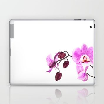 pink orchid flower watercolor painting  Laptop & iPad Skin by Color and Color