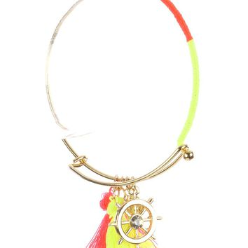 Mulit Color Shipwheel Tassel Charm Metal Wire Bangle Bracelet