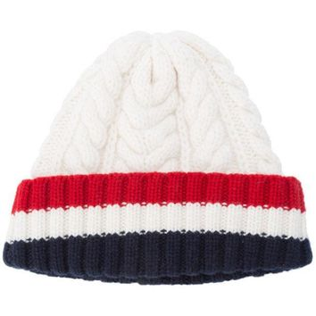 ESBONJF Thom Browne Aran Cable Hat With Red, White And Blue Hem Stripe In White Cashmere - Farfetch