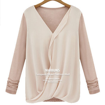 V-Neck Front Cross Chiffon Long Sleeve Ruched Blouse