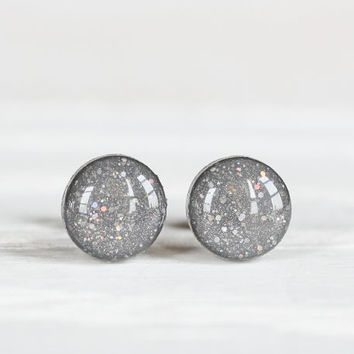 Grey Confetti Sparkle Post Earrings - Hypoallergenic Studs