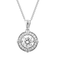 Sterling Silver Gems in Motion Pendant-Necklace made with Swarovski Zirconia