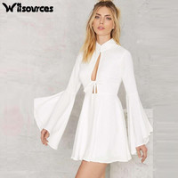 Witsources women sexy dresses autumn new fashion low hollow out neck flare sleeve white chiffon casual dress SD3402