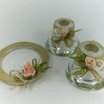 Candle Holders Rustic Style, Wedding Unity Candles, Rose, Vintage Lace Decoration, Candlesticks, Pillar Candle Holder, Taper Candle Holders