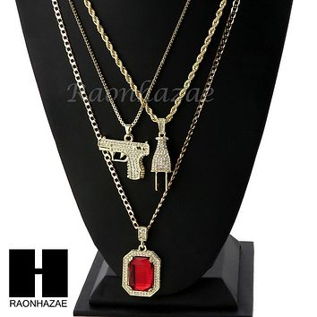 """ICED OUT RUBY HANDGUN PLUG PENDANT 24"""" 30"""" ROPE BOX CUBAN CHAIN NECKLACE SET S02"""
