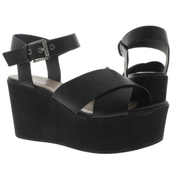SoftMoc Women's NIKKI black platform wedge sandals NIKKI-BLK