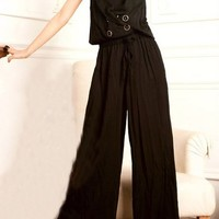 Double Breasted Drawstring Wide Jumpsuits
