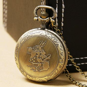 Lovely Pocket Watch Alice in Wonderland Cute Rabbit Design Fob Watches Women Ladies Girls Necklace Chain Gift Relogio De Bolso