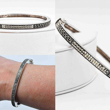 Vintage Judith Jack Sterling Silver Marcasite Bangle Bracelet, Oval, Hinged, Milgrain, Safety Catch, So Elegant!  #c325