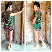 Sleeveless Spiked Ripped Army Gold Silver Camo Camoflauge Fatigue