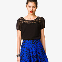Sheer Lace Panel Blouse
