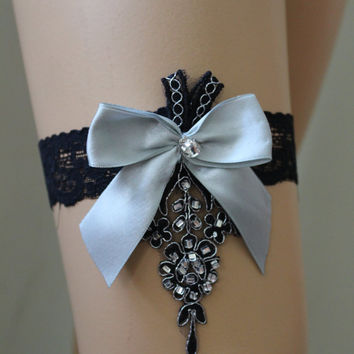 Wedding Garter, Black and Gray Lace Bridal Garter,Wedding Accessory,Bridal Lingerie,Wedding Lingerie,gothic