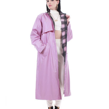 Vintage Pastel Pink PVC Raincoat Full Length Rubber Plaid Flannel Lined Vinyl Slicker Mac Retro Kawaii 80s Clothing Women Size Medium Large