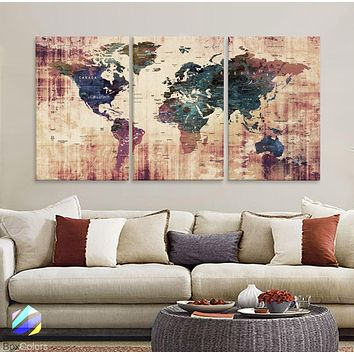 "LARGE 30""x 60"" 3 panels 30x20 Ea Art Canvas Print Watercolor  Old Map World Push Pin Travel M1819"