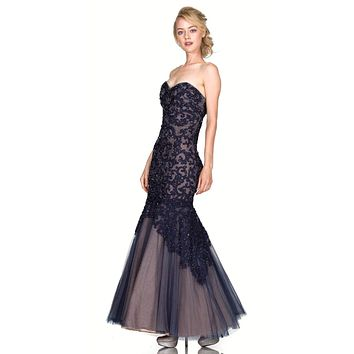 Strapless Appliqued Mermaid Prom Gown Lace Up Back Navy/Nude