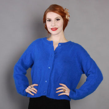80s does 50s Royal Blue ANGORA CARDIGAN / Fuzzy 1980s Pin-Up Cardi Sweater L - XL