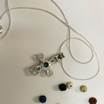 Cross Crucifix Diffuser Aromatherapy Necklace