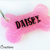 Pink Glitter Bone Dog Tag - Personalized Handmade Dog Pet ID