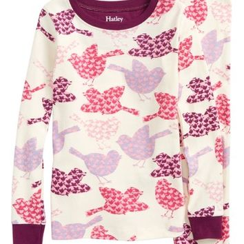 Hatley Bird Print Organic Cotton Fitted Two-Piece Pajamas (Toddler Girls, Little Girls & Big Girls) | Nordstrom