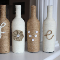 Twine Wrapped Wine Bottles, Rustic Centerpiece, Rustic Home Decor, Rustic Wedding Centerpiece, Wine Bottle Vase, Customized Centerpiece