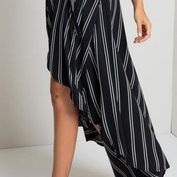 2016 Striped Asymmetrical Women Skirts Casual Beach Maxi Retro Print Skirt Loose Girl High Waist Skirts Long Maxi Skirt New