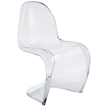Wavy Dining Acrylic Side Chair in Clear