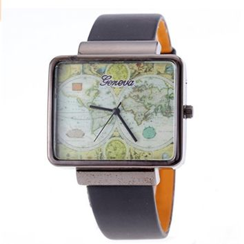 Unisex Rectangle World Map Travel Abroad Analog Display Watch Black