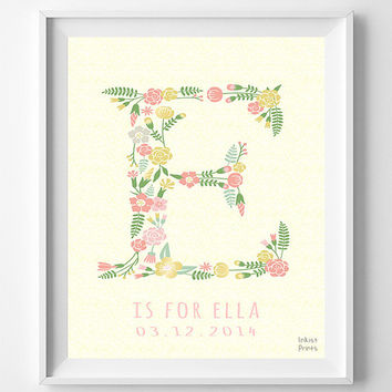 Customize Print, Name, Ella, Ethan, Letter E, Monogram, Nursery, Art, Alphabet, Personalized Name, Boy, Girl, Initial, Baby Shower [NO 245]