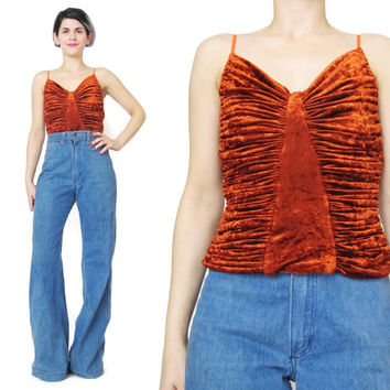 1990s Crushed Velvet Tank Top Orange Velvet Top Fire Club Kid Glam Rock Party Top Sleeveless Strappy Tank Ruched Velvet Tank Fitted (XS)
