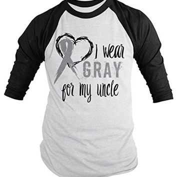 Shirts By Sarah Men's Wear Gray For Uncle 3/4 Sleeve Brain Cancer Asthma Diabetes Awareness Ribbon Shirt