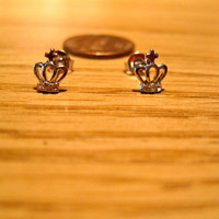 BBC Sherlock inspired Moriarty Crown Earrings Posts Studs with Swarovski Crystal