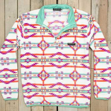 Southern Marsh Harbuck Fleece Quarter Zip Pullover with Aztec Print OHBP-WTTL