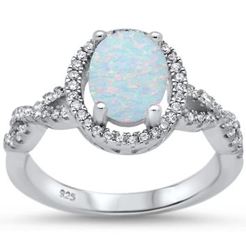 Filigree Style Oval White Fire Opal & White Topaz Ring