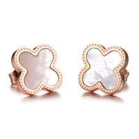 "#EA101295 2016 Dainty Stainless Steel ""Four Leaf Clover"" Earrings Elaborate and populay earings For Women Party Jewelry"