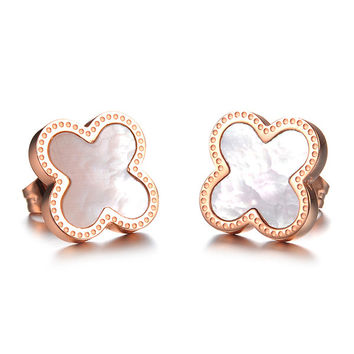"""#EA101295 2016 Dainty Stainless Steel """"Four Leaf Clover"""" Earrings Elaborate and populay earings For Women Party Jewelry"""
