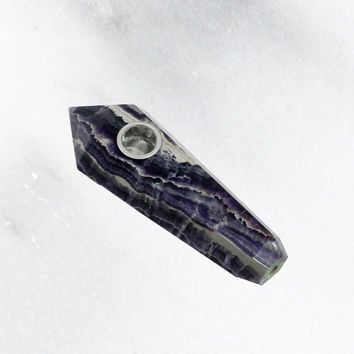 Purple Banded Fluorite Crystal Stone Pipe
