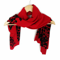 Winter Trends Color, Tomato, Cotton Soft Red Scarf with Black Floral Print, Women Accessories